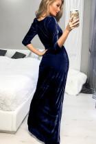 Blå dyp v-hals ruched side slit fest fløyel kjole