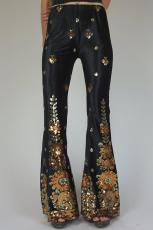 Tryckta Sequined Flared Pants