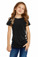 Black Side Button Detail Short Short Sleeve T Shirt for Little Girls