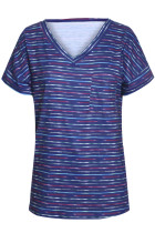 Синяя полосатая карманная футболка Get the Party Started