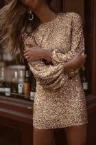 Guldpuffet ærme Sequin Party Mini kjole