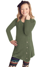 Yeşil Küçük Kız Uzun Kol Düğmeli Tunik