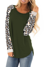 Green Leopard Print Top Sleeve Pullover Top