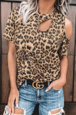 Leopard Udskåret T-shirt
