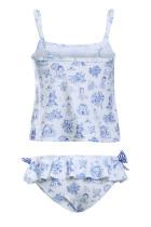 Mavi Toile Desenli Küçük Kızlar Mayo