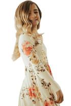 Floral White Swing Dress med skjulte lommer