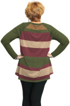 Vihreä Multi Colorblock Raglan Sleeve Plus Koko Naisten Top