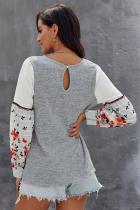 Grå kontrast trykte ermer strikkede gensere