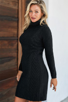 Black Hand Knitted High Neck Sweater Dress