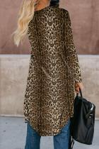 Brun Leopard Print Long Cardigan