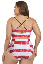 American Flag Strappy Neck Detalhe Swimsuit cintura alta