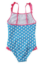 Blå Hvit Polka Dot One Piece Badedrakt for Kids