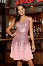 Pink Sequin & Chiffon Mini kjole