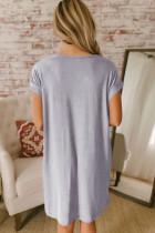 فستان بنمط تيشيرت رمادي قبة V