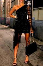 Блестящее одно плечевое прозрачное сетчатое вечернее платье