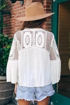 White Against The Grain Swiss Dot Crochet Tie Top