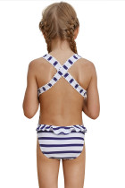 Navy Blue Striped Cross Back Maillot til små piger
