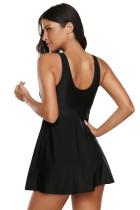 Черное платье для плавания с высокой горловиной