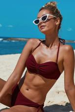 Rødknyttet Ruched Bikini badetøj