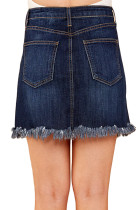Blå Distressed Hem Denim Skirt
