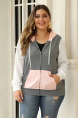Pink Colorblock Hooded Zip Plus Size Jacket