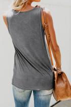 Grå afslappet kvinders tank top med flerfarvet lomme