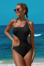 Sort One Shoulder Cut Out Maillot