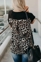 Leopard Printed Splicing T-skjorte