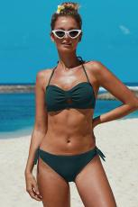 Swimwear Bikinis Ruched Green Knotted