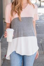 Pink Color Block V Neck T-skjorte