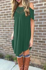 Rochie casual din dantelă scobită din dantelă verde