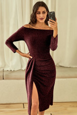Red Off Shoulder Ruched Thigh High Slit Sequin Dress