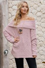 Розовый свитер с открытыми плечами