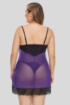 Purple Lace Décor Plus Size Chemise Lingerie