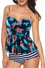 2pcs الأزرق طباعة الأزهار تانكسي ملابس السباحة