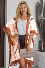 Orange Bohemian Print Front Front Loose Kimono Beach Cover up