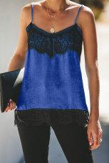 Μπλε σατέν δαντέλα Cami δεξαμενή
