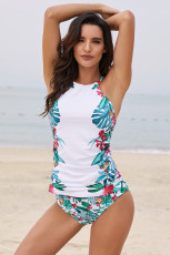White Leaf & Flower Print Ruched Tankini Set