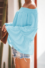 Turquoise Swiss Dot Off Shoulder Top