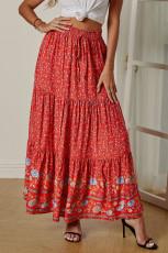 Red Boho Floral Print Elastis Pinggang Tinggi Lipit A Line Maxi Skirt