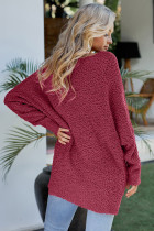 Красный зимний свитер вязаный туника