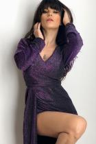 Purple Glitter Ruched Thigh Slit Party Metallic Dress