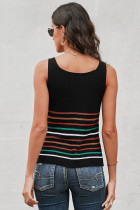 Flerfarvet striber sort strik tank top