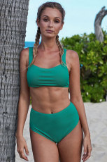 Vihreä rengas neulottu urheilurintaliivit korkea vyötäröllä bikinit