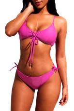 Rosy Lace-up Grommet-yksityiskohta 2pcs Bikini-uimapuku