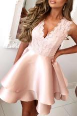 Pink scalloped V-hals dobbeltlags Skater Mini kjole