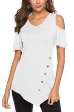 Белая нерегулярная блузка с открытыми плечами
