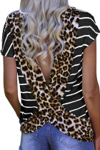 Stripe Black Leopard Printed Open Back Short Sleeve T Shirt