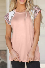 Pink Leopard Cap Sleeve Casual Top