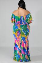 Plus størrelse tropiske palmer havfrue kjole